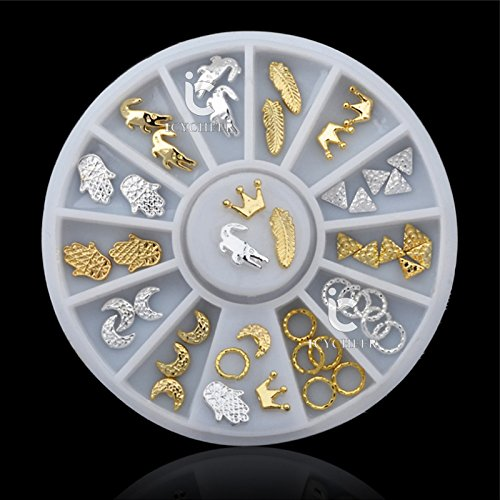 Tips Decoration Glitter Rhinestone Wheel (3D Hot Nail Art Rhinestones Glitters Acrylic Tips Decoration Manicure Wheel Gold)