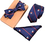 Lanburch Fashionable Premium Formal/Informal Ties Set, Necktie/Bow Tie/Pocket Square for Mens/Boys, Blue Shield