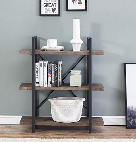 O&K Furniture 3-Shelf Industrial Bookcase and Book Shelves, Free Standing Storage Display Shelves, Brown by O&K Furniture (Image #4)