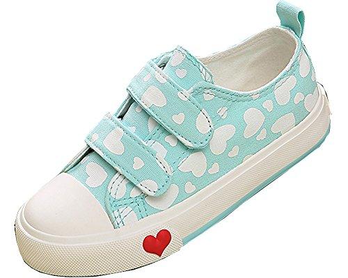 Dual Sport Canvas (VECJUNIA Kids Neutral Outdoor Peach Heart Dual Hook and Loop Sport Canvas Sneakers Light Green 12 M US Little Kid)
