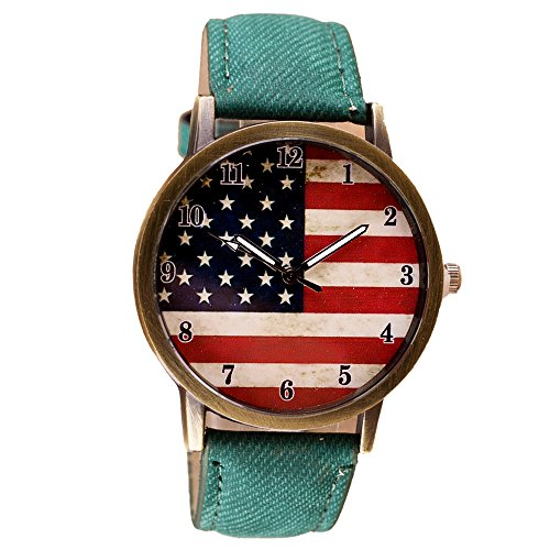 American Flag pattern Women watch, XILALU Leather Band Retro Analog Quartz Vogue Wrist Watches (Green) (Watch Mini 23 Ladies)