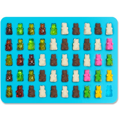 (Lucentee Gummy Bears Molds for Hard Candy & Chocolate Making- Silicone Soap and Ice Cube Trays- Party Buffet, Baking, Wedding Favor Maker & Baby Shower Supplies - Novelty / Silly Shapes - 50 Cavity)