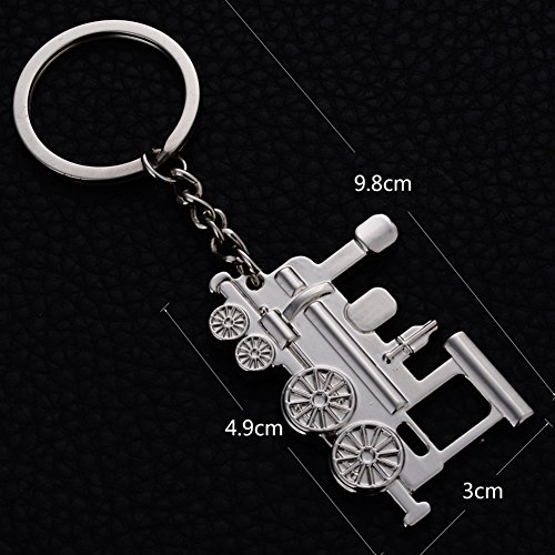 Metal Silver Train Keychain Pendants Ornament for Handbags Cool Designer Key Holders Lanyards Fobs Key Rings Vintage Key Chains ()