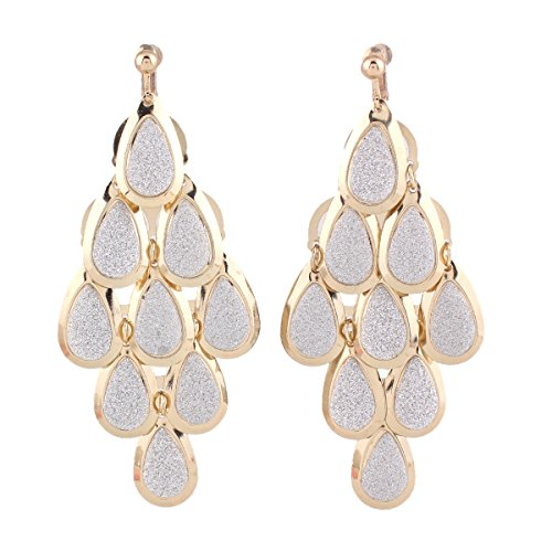 Grace Jun New Handmade Multi-layer Dangle Drop Earrings and Clip on Earrings No Pierced for Women (Gold Clip-on 2) by Grace Jun