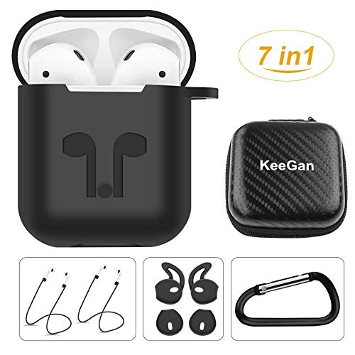 KeeGan AirPods Case Accessories 7 in 1 Kits, Black Protective Silicone Cover and Skin for Apple Airpods Charging Case with Keychain/Straps/Ear Hooks/Airpods Clips/Skin/Tips/Grips/Storage Box