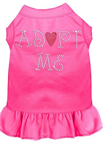 Mirage Pet Products 57-01 SMBPK Adopt Me Rhinestone Dress, Small, Bright Pink