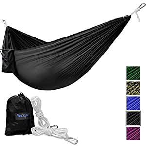 Yes4All Lightweight Double Camping Hammock with Carry Bag – Nylon Parachute Hammock / Lightweight Portable Hammock for Camping, Hiking (Black)