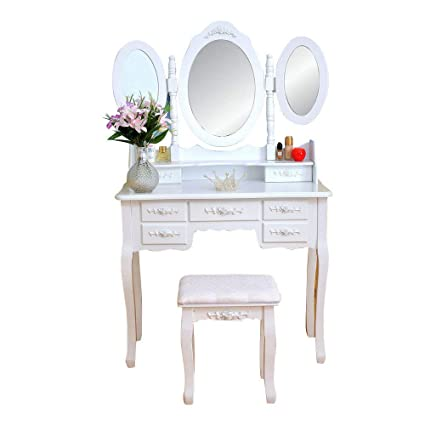 Amazon.com: Tri-Folding Mirror Dressing Table Set 7 Flower ...