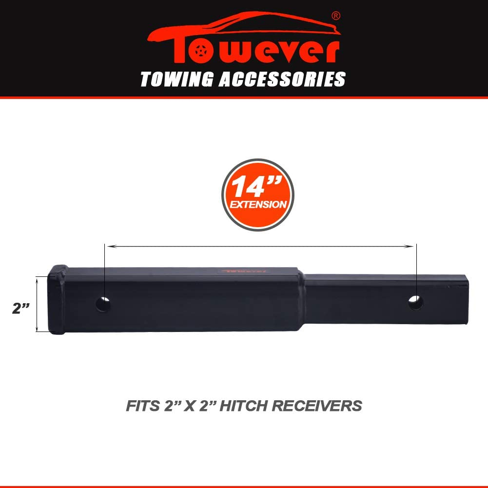 GTW Towever 84335 Trailer Hitch Extender Tube Extension for 2 Receiver 3500 lbs 14 Length