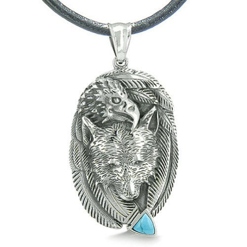 Wolf Eagle Unity Feathers Simulated Turquoise Arrowhead Pendant Necklace