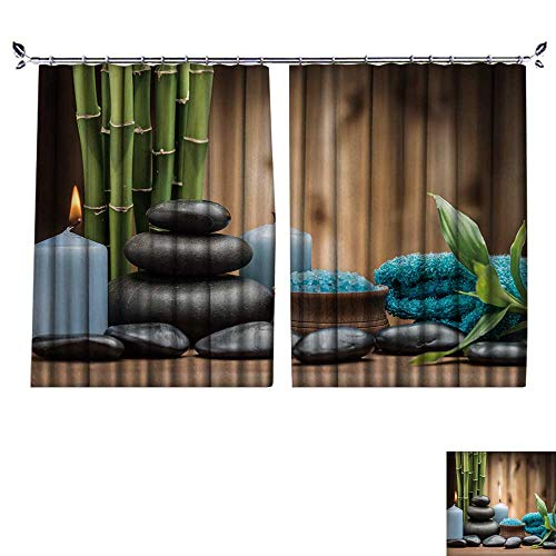 r Curtain Zen Basalt Stones and Toning sea Crystals on The Wood Suitable for Living Room. W96 x L96 ()