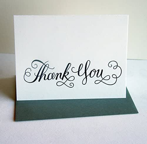 Thank You Card Calligraphy Thanks Handmade