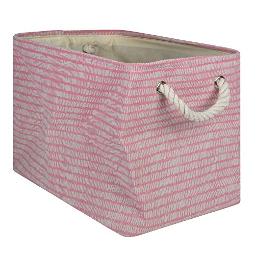 (DII Collapsible Polyester Storage Basket or Bin with Durable Cotton Handles, Home Organizer Solution for Office, Bedroom Closet, Toys, Laundry, Large, Pink Sorbet)