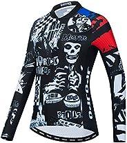 JPOJPO Women's Cycling Jersey Long Sleeve Bike Shirts Tops Lycal Cuff Reflec