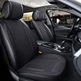 INCH EMPIRE Only 2 Front Seat PU Leather Ice-silk Car Seat Cover- Anti-Slip Suede Backing Universal Fit Car Seat Cushion for Both Fabric and Leather Car Seats(2 front black)