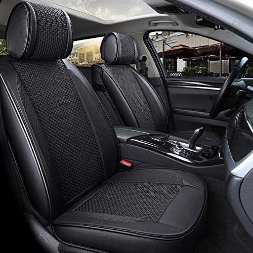 Suede Car Seat Cover - INCH EMPIRE Only 2 Front Seat PU Leather Ice-silk Car Seat Cover- Anti-Slip Suede Backing Universal Fit Car Seat Cushion for Both Fabric and Leather Car Seats(2 front black)