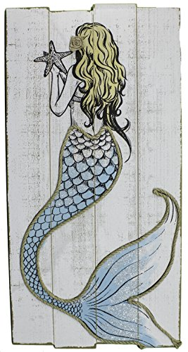Ganz Large Distressed 31 Inch Nautical Painted Mermaid Wall Plaque