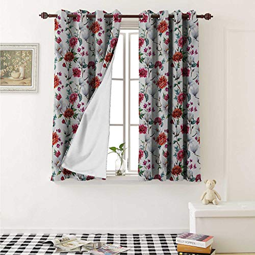 (Flower Blackout Draperies for Bedroom Romantic Magnolia and Chrysanths Moms Flowering Plants English Petals Design Curtains Kitchen Valance W72 x L63 Inch White Red Pink)