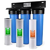 "iSpring WGB32B 3-Stage Whole House Water Filtration System w/ 20"" x 4.5"" Big Blue Fine Sediment and Carbon Block Filters"