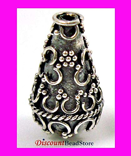 Jewelry Making Supplies - 2pcs Sterling Silver Tear Drop Cone Ornate Bali Bead 15mm x 9mm B58 - Perfect and Stunning -