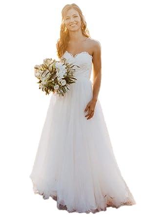 Libaosha Sweetheart A-Line Tulle Bridal Gowns Beach Wedding Dresses ...