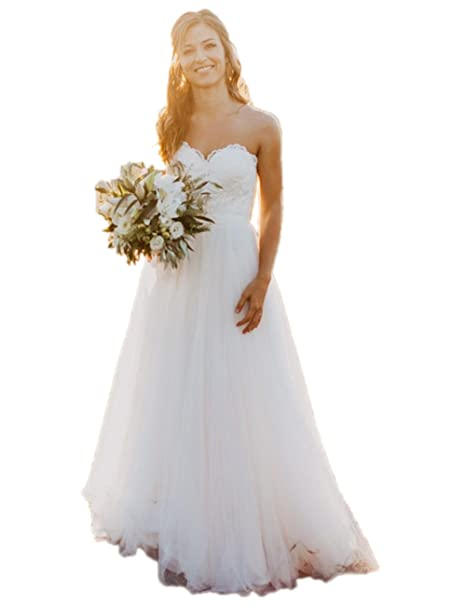 Lace Wedding Dress Sweetheart A Line Long Tulle Country Style Bridal Gowns