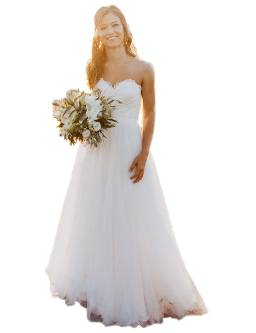 Sweetheart A-Line Tulle Bridal Gowns Beach Wedding Dresses (US12, White)