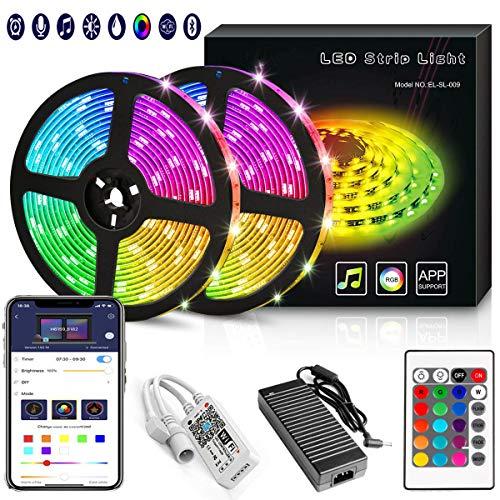 YORUKAU Led Strip Lights – RGB 300 LEDs – Controlled by WiFi Smart Phone – Bluetooth or Key Remote – Waterproof – Led…
