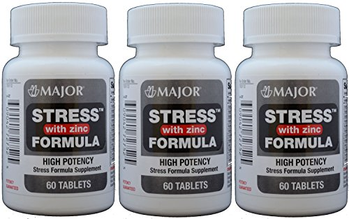 Stress Tab with Zinc High Potency Stress Formula with B-Vitamins, C+E, plus Antioxidants and Zinc For Immune Support 60 Tablets per Bottle Pack of 3 Total 180 Tablets - Antioxidant Formula Vitamin