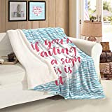 Sofa Decorative Blanket Twin Size Brush Calligraphy on Blue Waves Positive Encouraging Advice Plush Cashmere Blanket Throw Blanket Gifts for Kids and Woman 59 x 78 inch