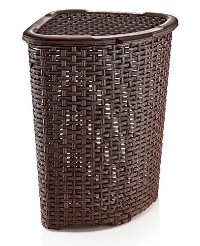 Rattan (Wicker Style) Corner Laundry Hamper 1.47 Bushel / 52 Liter (Hamper Corner)