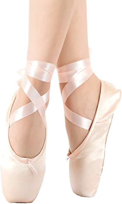 AZLLY Womans Satin Ballet Pointe Shoes Professional Ladies Ballerina Dance Shoes with Ribbons Silicone Toe Pad,Red,31EU