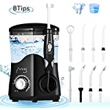 ?Electric Water Flosser Teeth Cleaner, 600ml Water Pick Dental Flosser, Oral Irrigator Countertop with 8 Jet Tips and 10 Adjustable Pressure for whole Family
