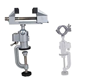 Lheng 2in1 Table Vise Bench Vice Aluminum Alloy Swivel 360 Degree Rotating Clamp for Electric Drill Stent Grinder Tools Holder