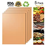 Copper Grill Mat and Bake Mat Set of 5 -AEOWE Non Stick BBQ Grill & Baking Mats - FDA-Approved,Reusable, Easy to Clean - PTFE Teflon Fiber Grill Roast Sheets for Gas, Charcoal, Electric Grill (Gold)