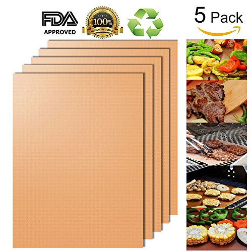 AEOWE Copper Grill Mat and Bake Mat Set of 5 Non Stick BBQ Grill & Baking Mats - FDA-Approved,Reusable, Easy to Clean - PTFE Teflon Fiber Grill Roast Sheets for (Copper Cover)