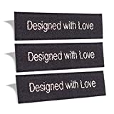 Wunderlabel Designed with Love Crafting Craft Fashion Woven Ribbon Ribbons Tag Clothing Sewing Sew Clothes Garment Fabric Material Embroidered Label Labels Tags, Sparkling Silver on Black, 100 Labels