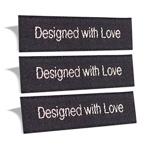 Wunderlabel Designed with Love Crafting Craft Fashion Woven Ribbon Ribbons Tag Clothing Sewing Sew Clothes Garment Fabric Material Embroidered Label Labels Tags, Sparkling Silver on Black, 50 -