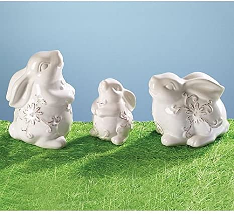 Amazon Com Set Of 3 Easter Bunny Rabbit Figurines With Hand Painted Ceramic Design Kitchen Dining