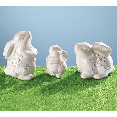 Set of 3 Easter Bunny Rabbit Figurines With Hand Painted Ceramic Design 9724423