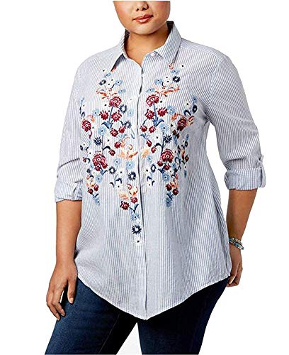 Embroidered Stripe Shirt - Style & Co. Plus Size Embroidered Striped Shirt (3X, Flourish Stripe)