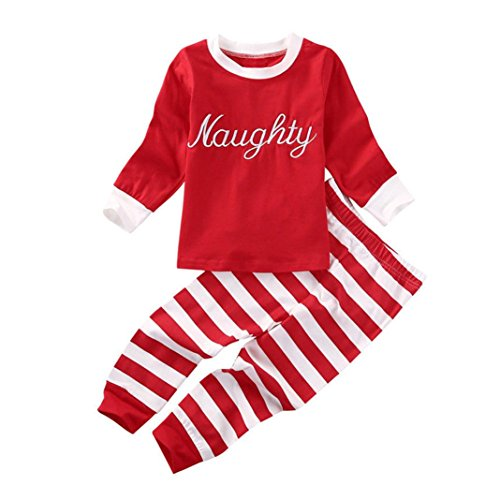 Naughty Pants (Winsummer Baby Kids Boy Girl Xmas Clothes Nice Naughty Long Sleeve Tops+Stripe Pants Outfits Set (12-24M, Red))