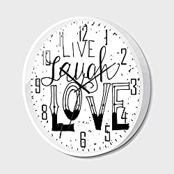 Silent Wall Clock Non Ticking Metal Frame HD Glass Cover,Live Laugh Love Decor,Quote Hand Drawn Typographical Artistic Design Positive Hipster Decorative,for Living Room, Bedroom,Office,16inch