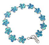 925 Sterling silver inlay synthetic blue opal 10mm Hawaiian plumeria flower bracelet 7''+