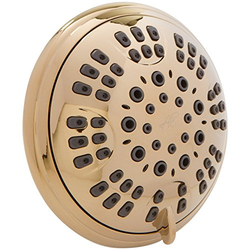 Aqua Elegante 6 Function Luxury Shower Head - Best High Pressure, Wall Mount, Adjustable Showerhead - Polished Brass (Led Shower Head Dream Spa compare prices)
