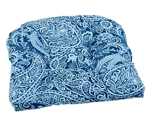 Wisechoice Soft Blue Paisley Wicker Cushion | Comfy Chair Pads | Rocking-Chair Bolster (Rockingchairs)