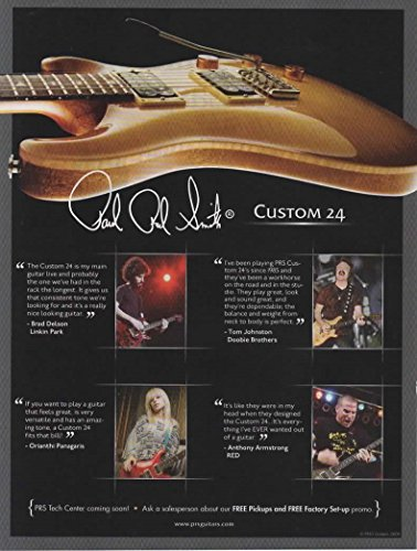 Magazine Print Ad: 2009 PRS Paul Reed Smith, Custom 24 Electric Guitars, Guitarist Brad Delson-Linkin Park, Orianthi Panagaris, Anthony Armstrong-RED, Tom Johnson-Doobie Brothers