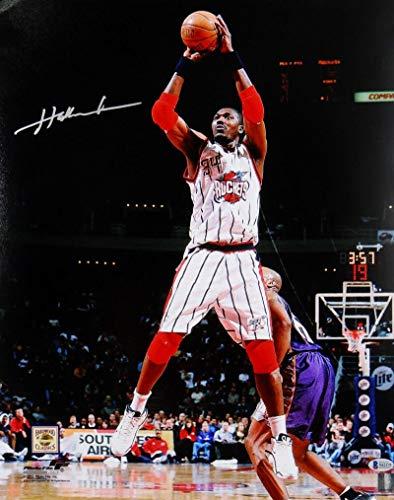 Photo Jump Shot - Hakeem Olajuwon Houston Autographed 16x20 Jump Shot Photo- Beckett Auth Silver