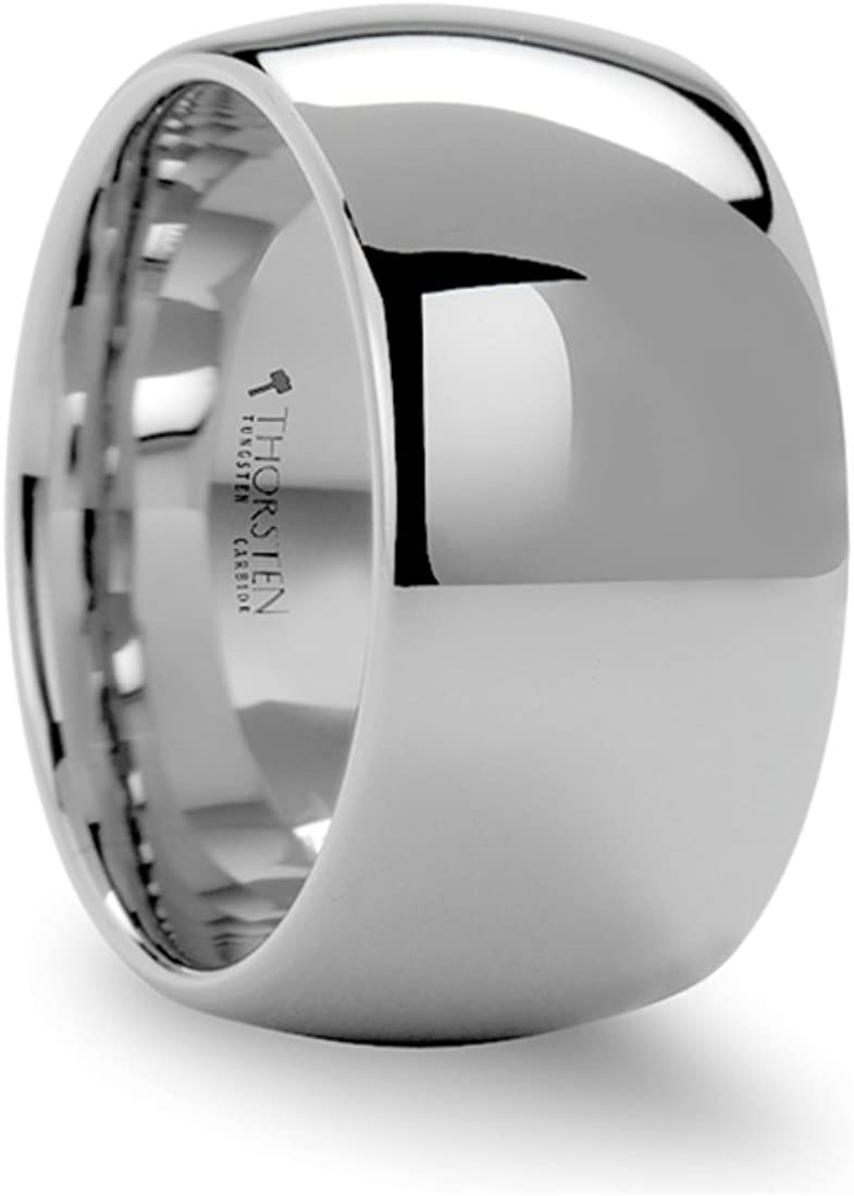 Thorsten Arlington Rounded Brushed Finish White Tungsten Ring 12mm Wide Wedding Band from Roy Rose Jewelry