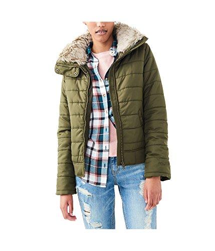 Aeropostale Womens Full Zip Puffer Jacket, Green, Small (Aeropostale Puffer Jacket)